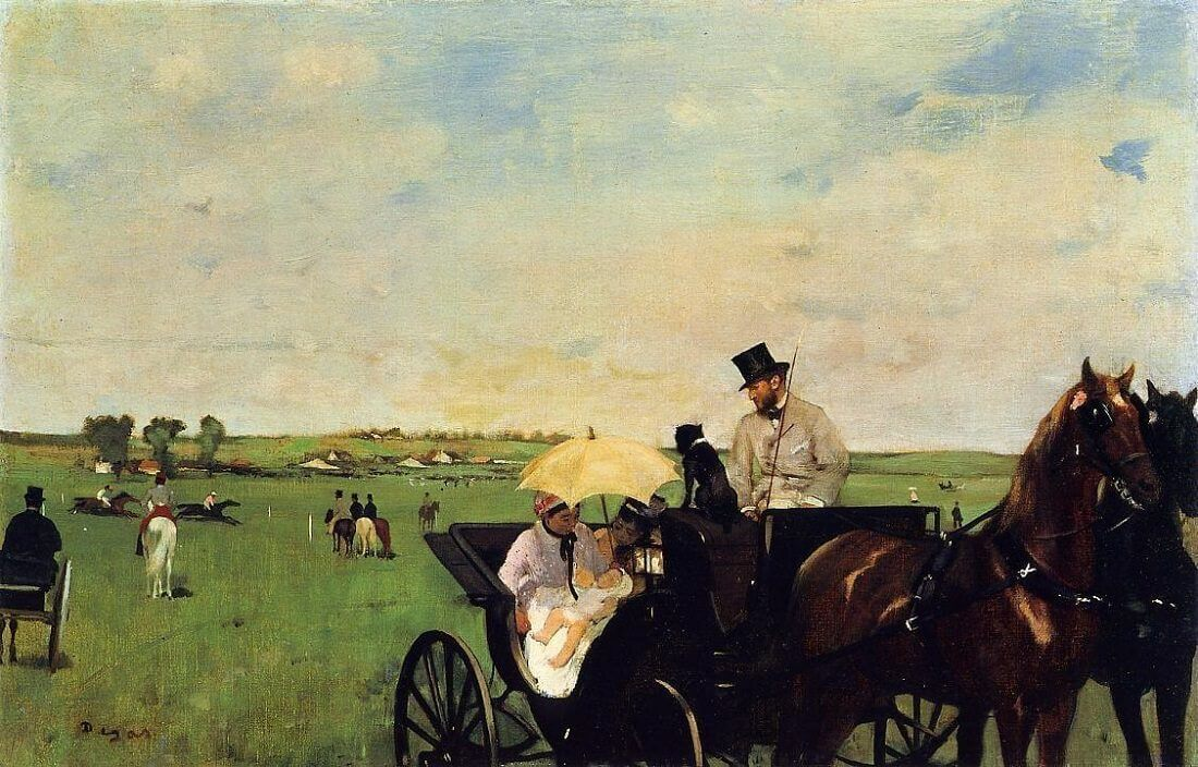 A Carriage at The Races, 1870 by Edgar Degas